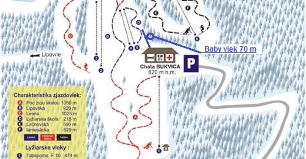 Pisteplan Skigebied Renčišov - Búče