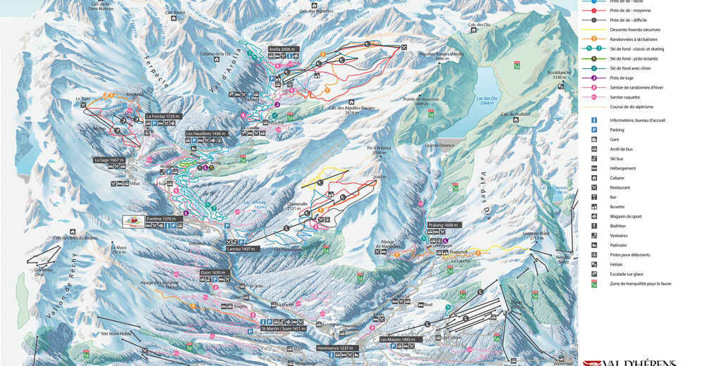 Plan skijaških staza Skijaško područje La Forclaz