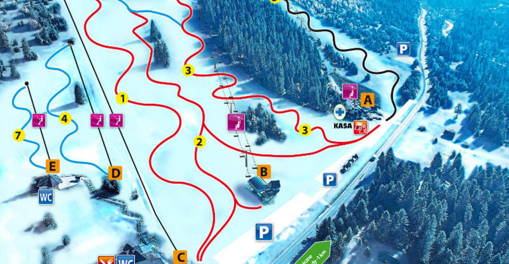 Piste map Ski resort Hawrań - JurgówSki
