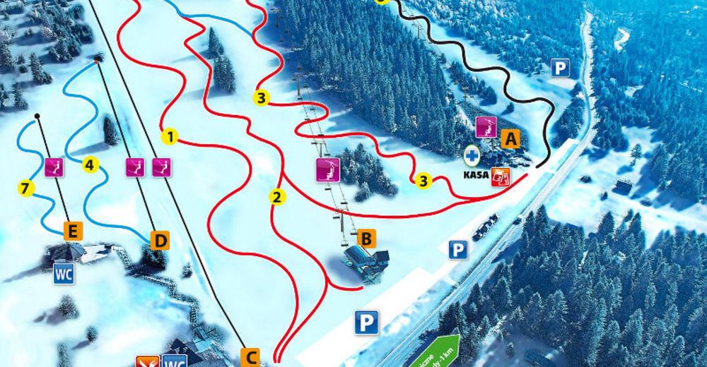 Plan skijaških staza Skijaško područje Hawrań - JurgówSki