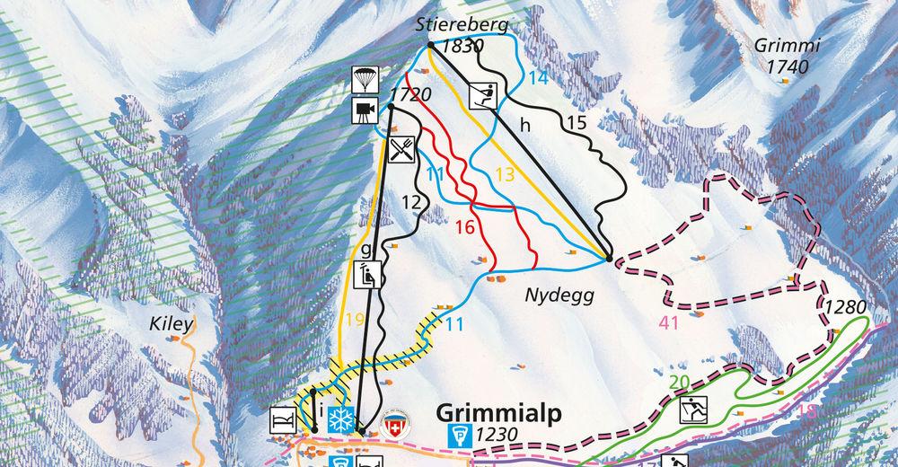 Plan skijaških staza Skijaško područje Grimmialp / Diemtigtal