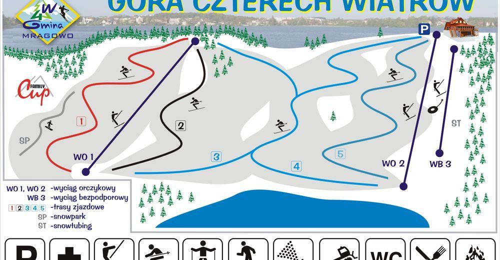 Mapa stoków Ośrodek narciarski Góra czterech wiatrów