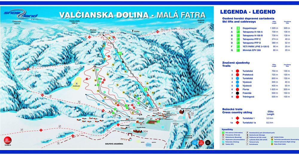 Pisteplan Skigebied SNOWLAND – Valčianska dolina
