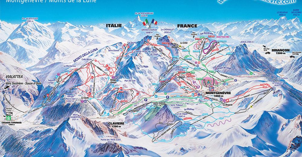 Plan skijaških staza Skijaško područje Montgenèvre - La Voie Lactee / Via Lattea