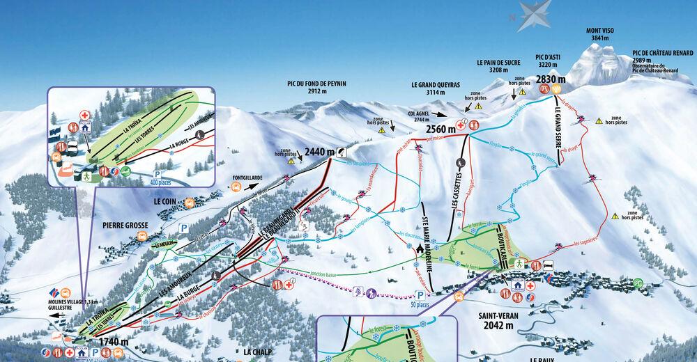 Mappa delle piste Comparto sciistico Molines en Queyras / Saint-Véran