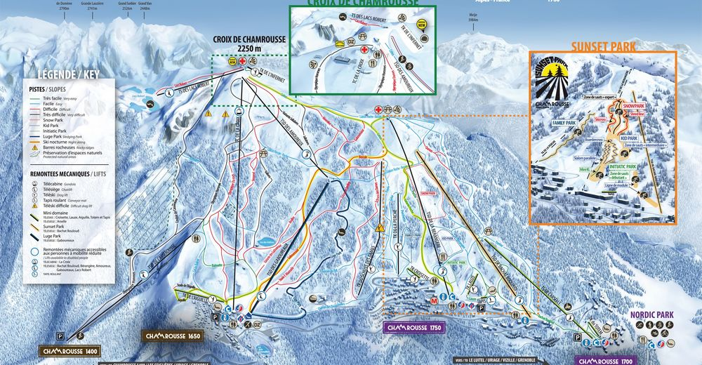 Načrt smučarske proge Smučišče Chamrousse