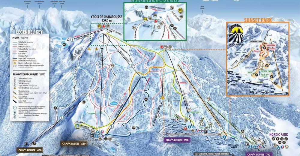 Plan de piste Station de ski Chamrousse