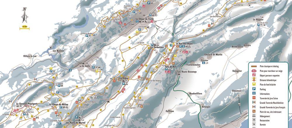 Loipenplan La Vue-des-Alpes / Tête-de-Ran