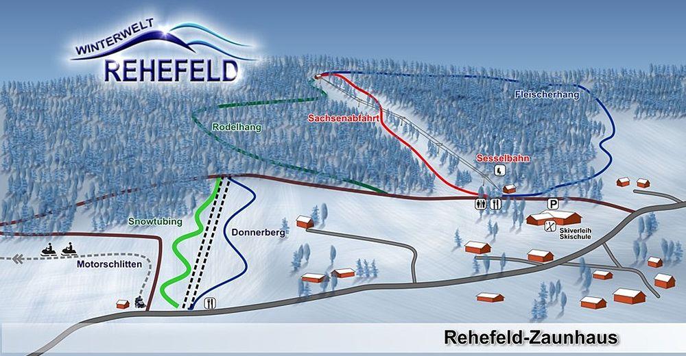 Mapa zjazdoviek Lyžiarske stredisko Winterwelt Rehefeld