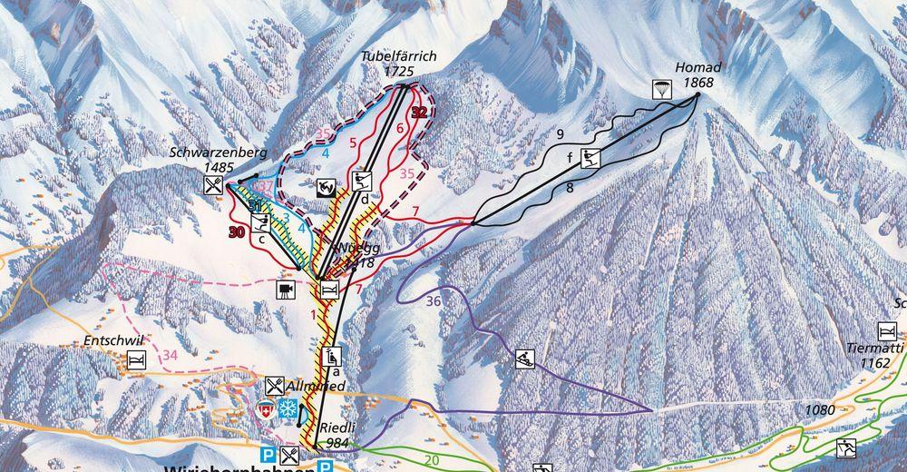 Pistenplan Skigebiet Wiriehorn / Diemtigtal
