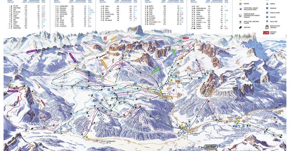 Plan skijaških staza Skijaško područje Alta Badia