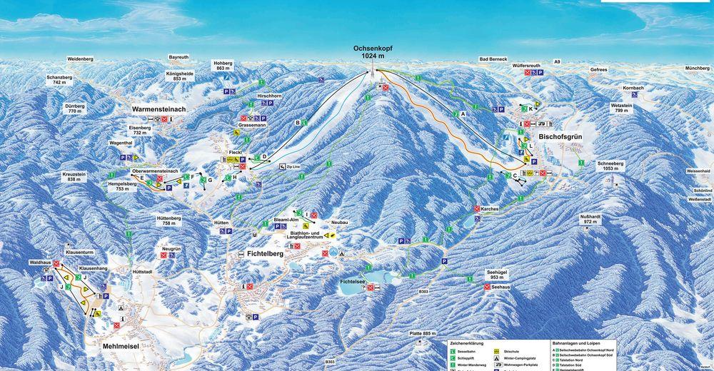 Plan skijaških staza Skijaško područje Ochsenkopf