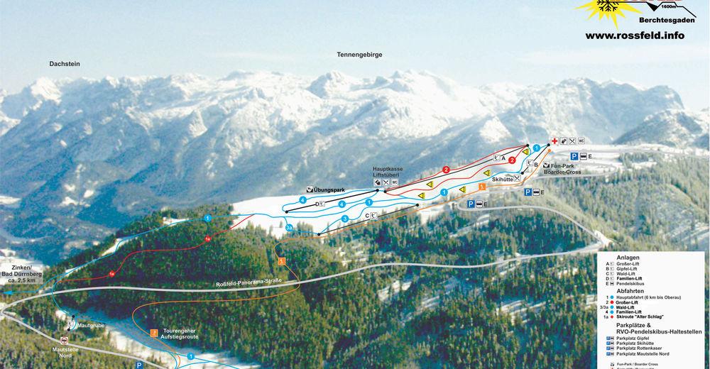 Plan skijaških staza Skijaško područje Rossfeld / Berchtesgadener Land