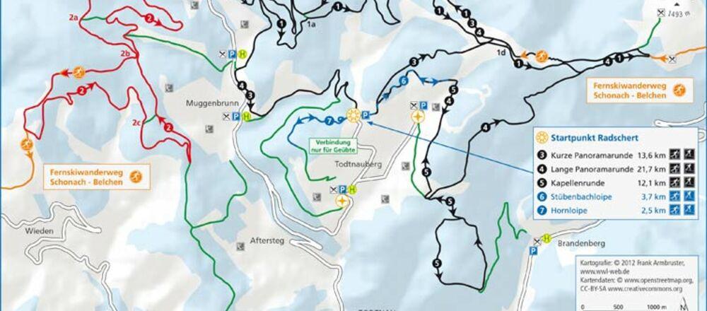 Loipenplan Nordic Center Notschrei
