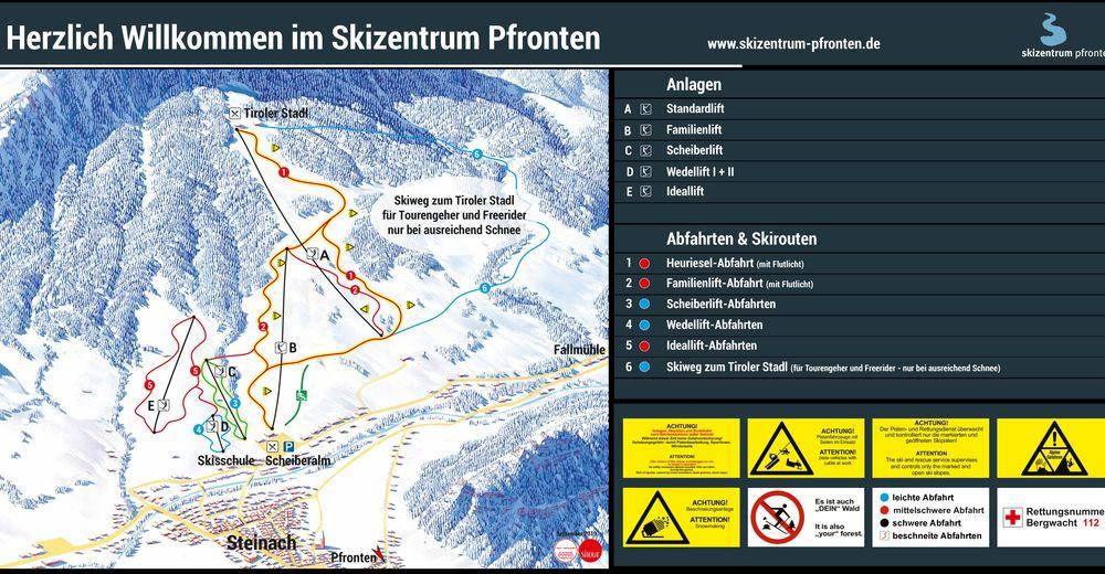 Pistplan Skidområde Skizentrum Pfronten - Steinach
