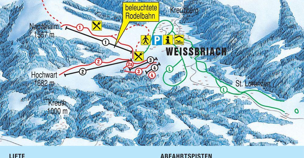 Mapa zjazdoviek Lyžiarske stredisko Weißbriach / Gitschtal