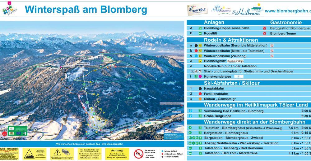 Planul pistelor Zonă de schi Blomberg - Bad Tölz
