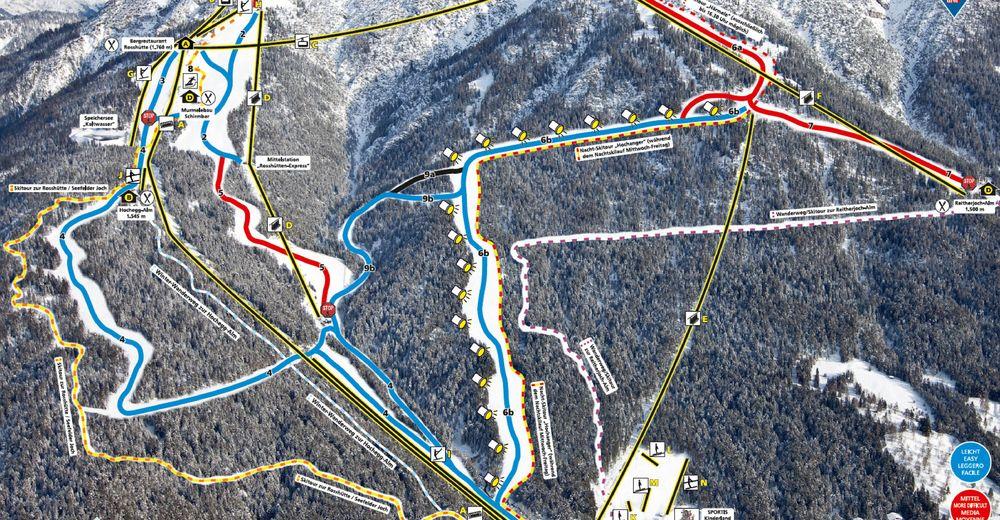 Pistenplan Skigebiet Seefeld / Rosshütte