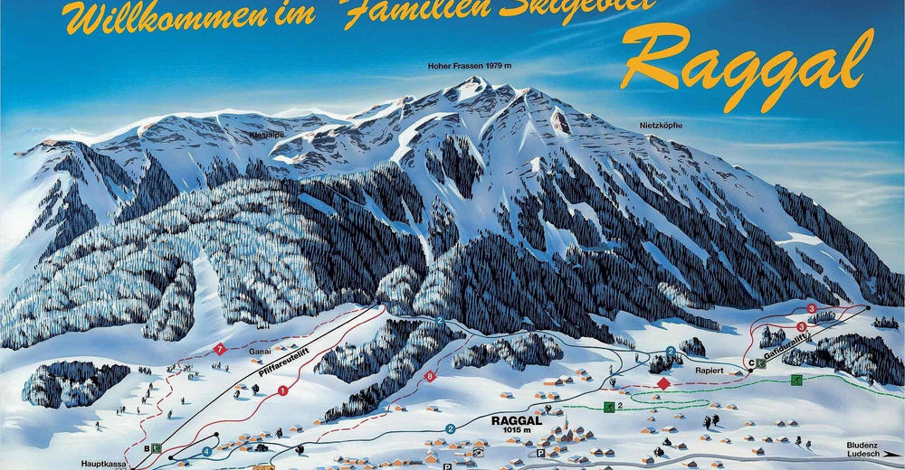 Piste map Ski resort Skilifte Raggal