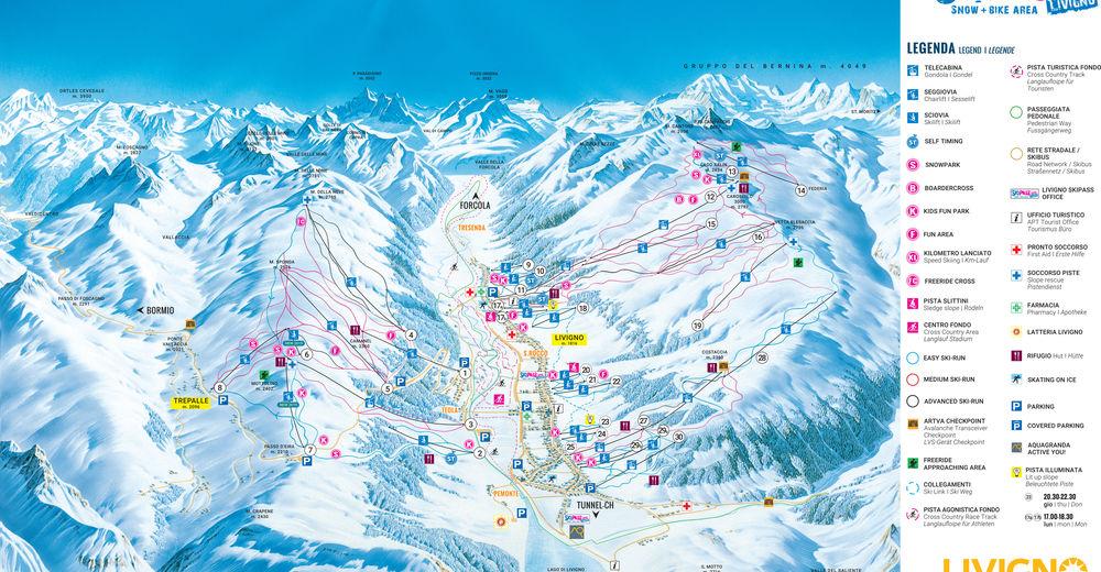 Plan skijaških staza Skijaško područje Livigno