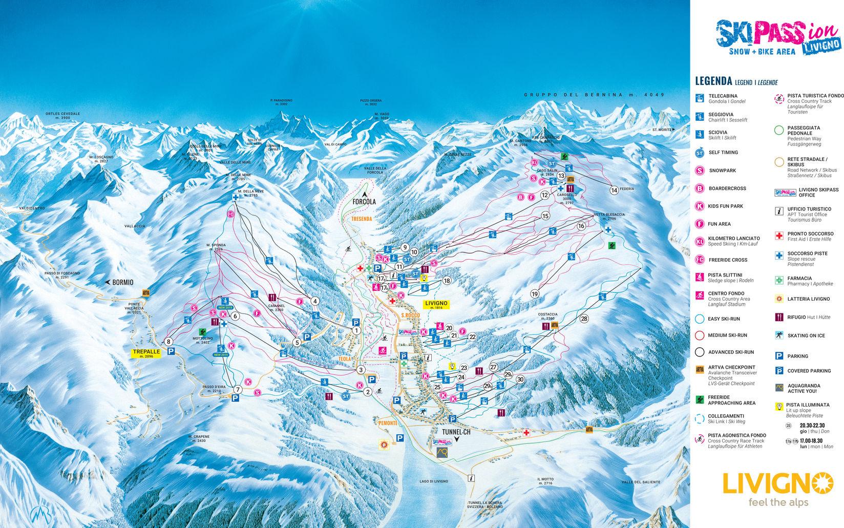 livigno karte italien BERGFEX: Pistenplan Livigno   Panoramakarte Livigno   Karte Livigno