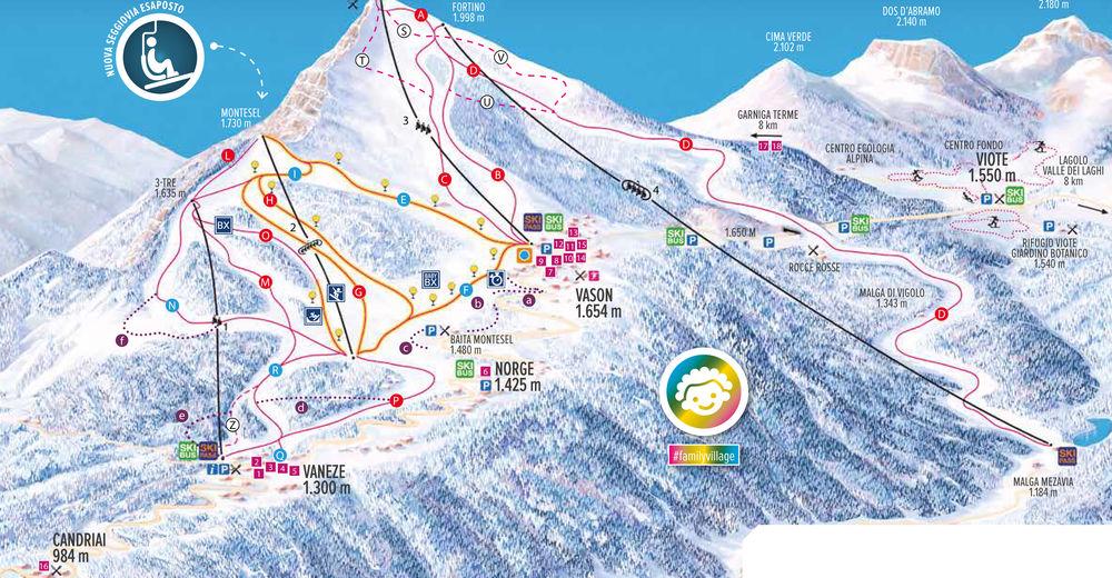 Pistplan Skidområde Monte Bondone