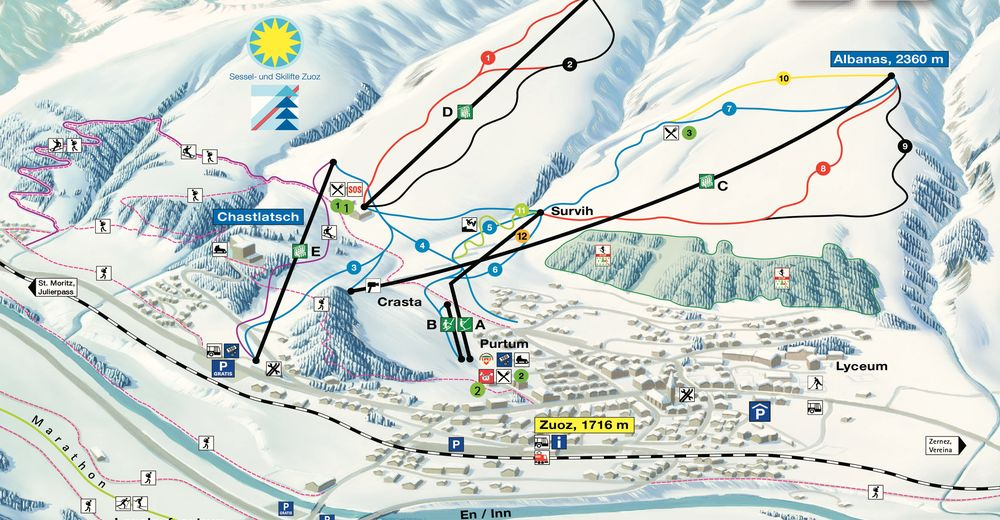 Piste map Ski resort Zuoz