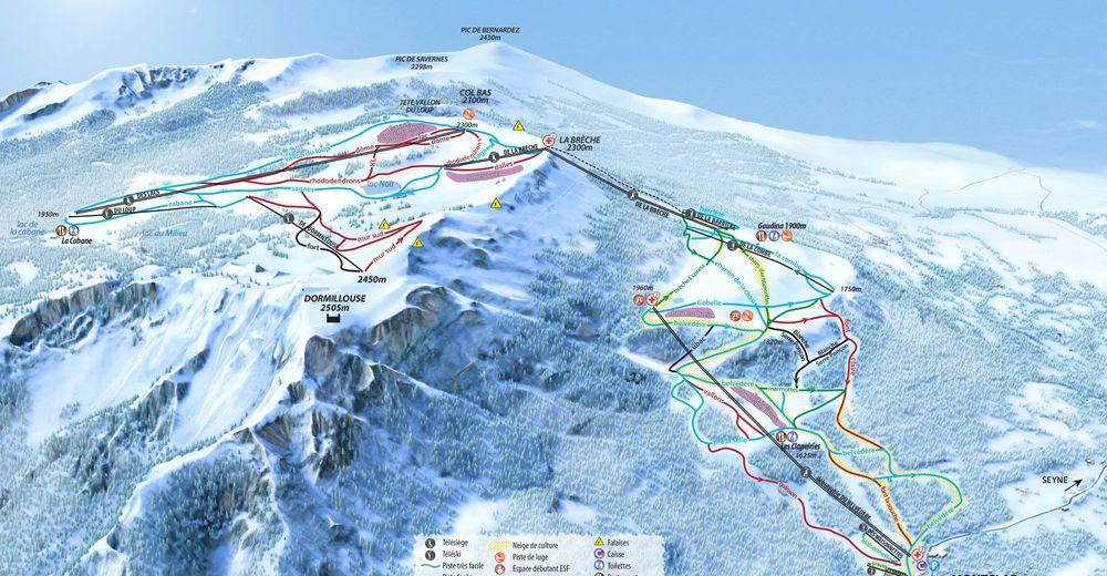 Piste map Ski resort Saint Jean Montclar