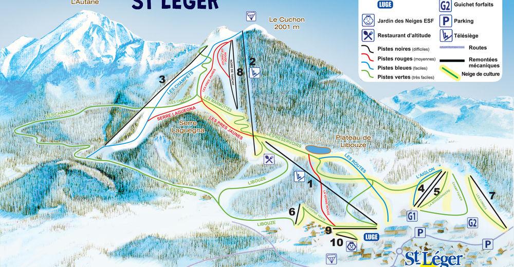 Pistenplan Skigebiet Saint-Léger-les-Mélèzes