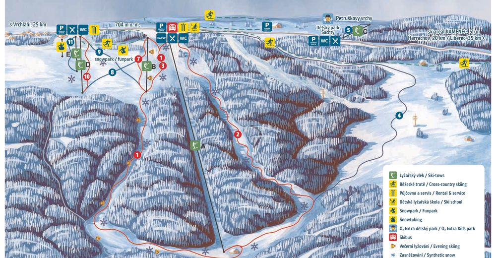 Piste map Ski resort Šachty