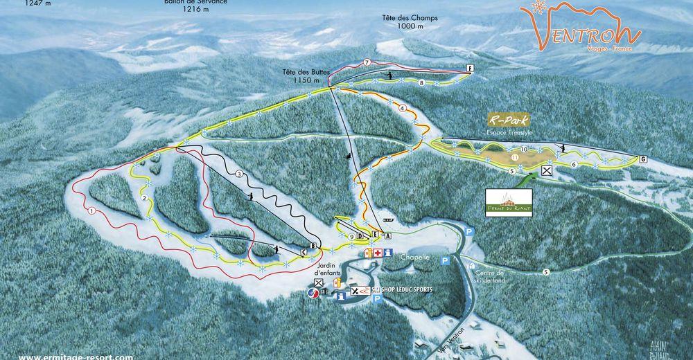 Plan skijaških staza Skijaško područje Ventron