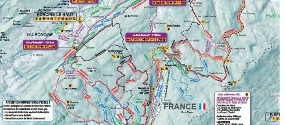 Loipenplan Val de Mouthe / Chapelle des Bois