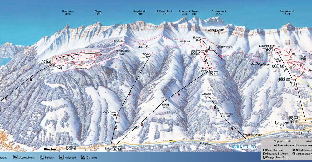 Plan skijaških staza Skijaško područje Ratzi / Spiringen