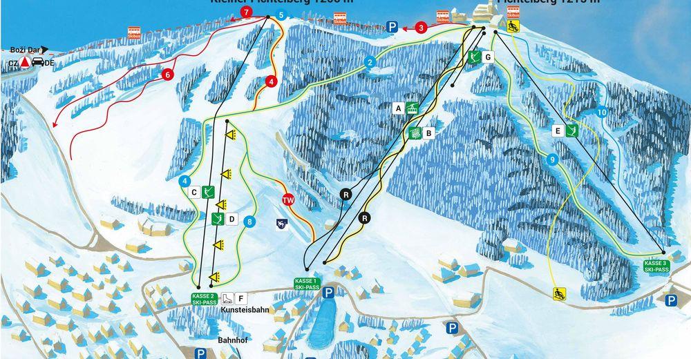 Planul pistelor Zonă de schi Fichtelberg - Oberwiesenthal