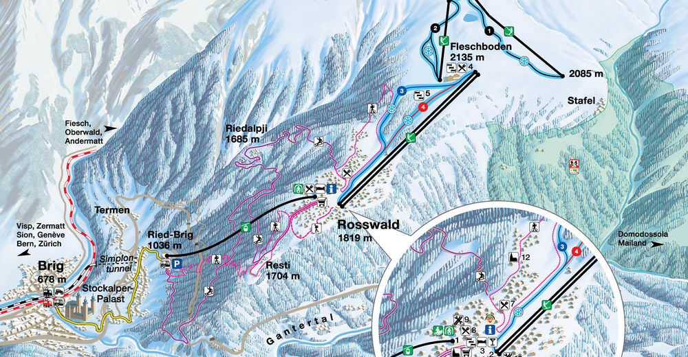 Piste map Ski resort Rosswald