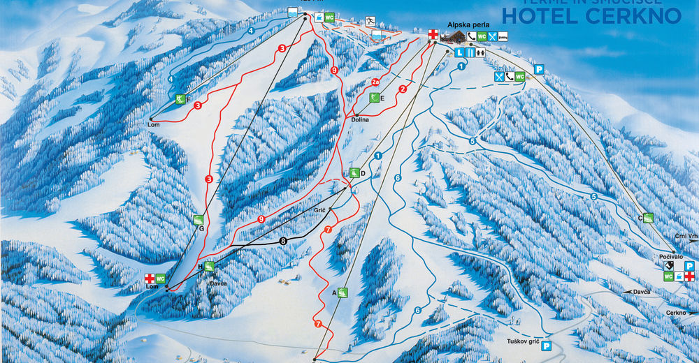 Plan skijaških staza Skijaško područje Cerkno
