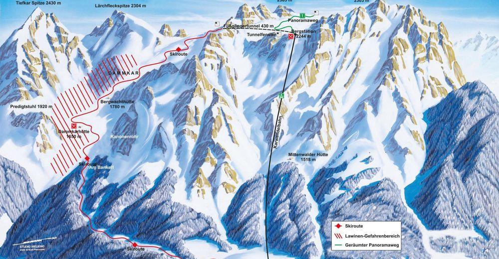 Načrt smučarske proge Smučišče Karwendel - Mittenwald
