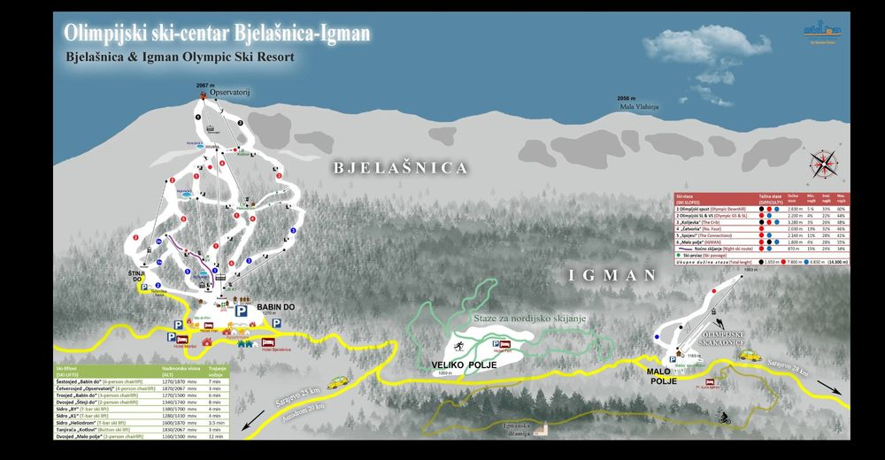 Planul pistelor Zonă de schi Babin Do / Bjelašnica