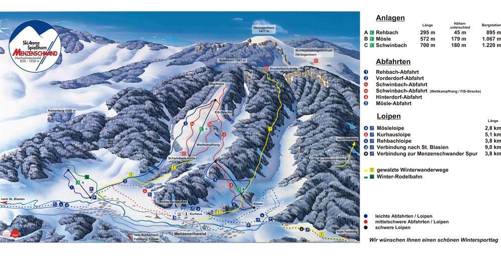 Planul pistelor Zonă de schi St. Blasien - Menzenschwand