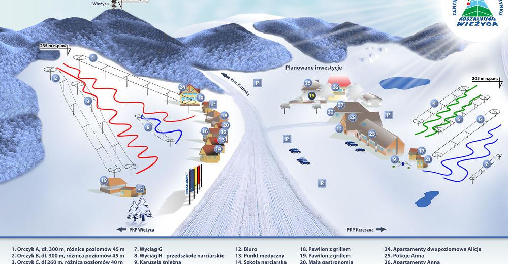 Pisteplan Skiområde Wieżyca