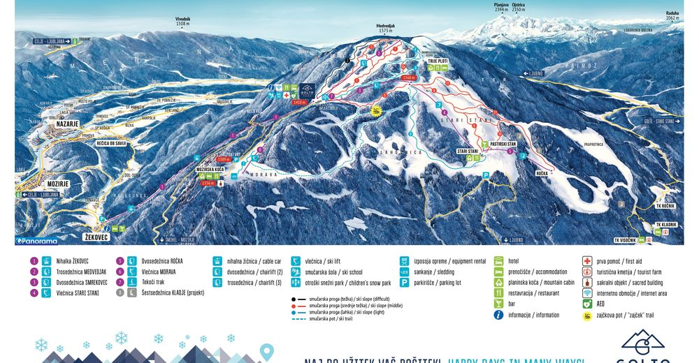 Piste map Ski resort Golte