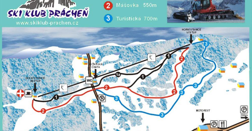Piste map Ski resort Prácheň