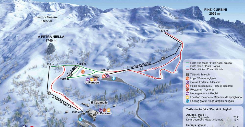 Pistenplan Skigebiet Ghisoni Capanelle