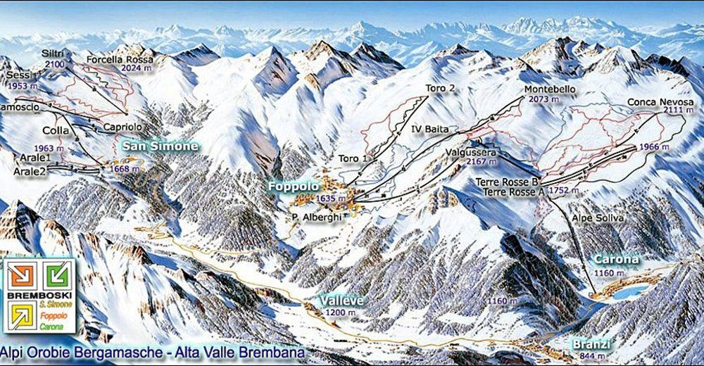 Pistenplan Skigebiet San Simone - Foppolo - Carona