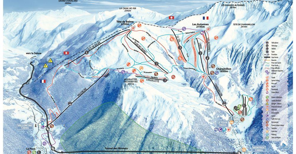 Pisteplan Skigebied Balme - Vallorcine