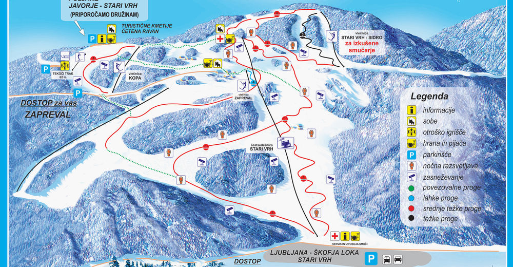 Piste map Ski resort Stari vrh