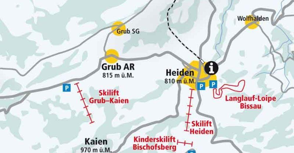 Plan skijaških staza Skijaško područje Heiden / Bischofsberg