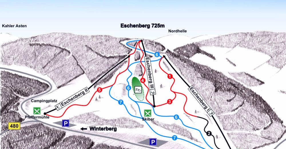 Plan skijaških staza Skijaško područje Eschenberglifte / Niedersfeld