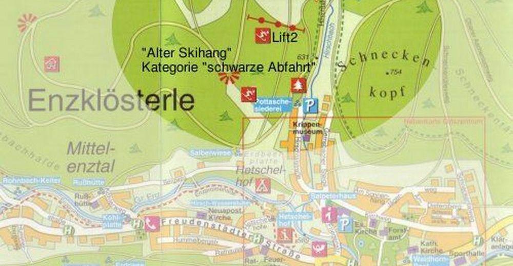 Pistenplan Skigebiet Enzklösterle - Hirschkopflifte