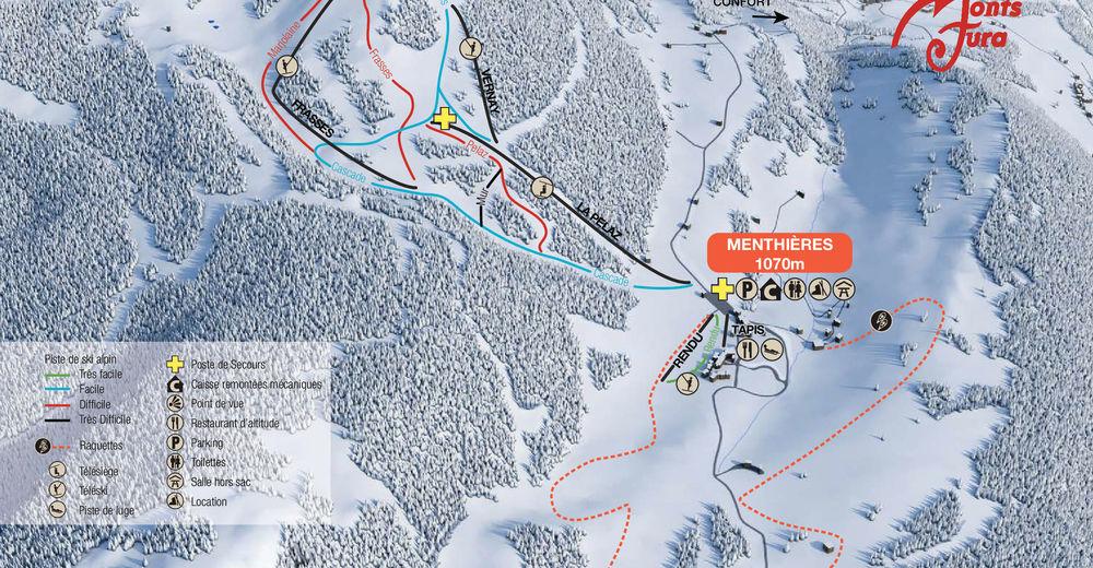 Plan skijaških staza Skijaško područje Menthières - Chézery